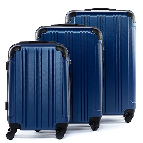 FERGÉ Kofferset Hartschale 3-teilig QUÉBEC Trolley-Set - Handgepäck 55 cm, L und XL 3er Set Hartschalenkoffer Roll-Koffer 4 Rollen blau