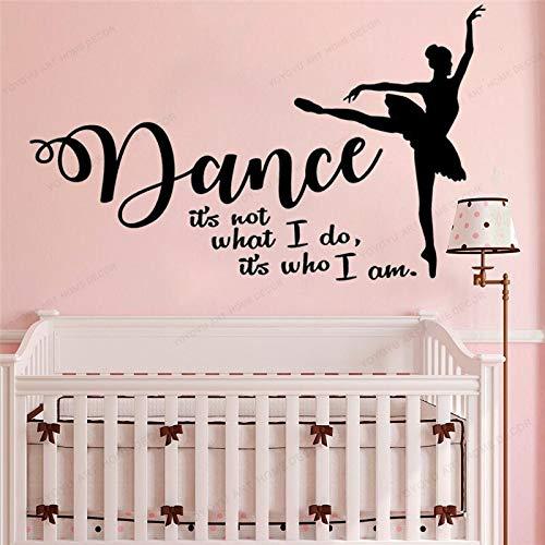 XCSJX Tanz Wandtattoos Das Bin Nicht ich, das ist was ich tanze Berühmte Wanddekoration Vinyl Ballett Ballerina Tänzer 57x34cm