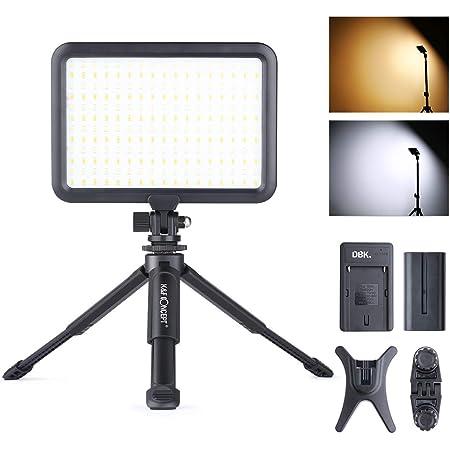 K&F Concept ビデオライト204個 LED 撮影ライト 照明ライト 卓上 手持ちライト ミニ三脚スタンド マルチマウント付き 3200K-5500K光調整 二つ USB充電式 自撮り撮影 YouTube 生放送 ビデオ録画