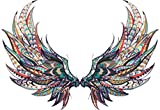 Beautiful Colorful Feather Angel Wings Tribal Pattern Feather Cartoon Art Vinyl Sticker (2' Wide, Full Wings)