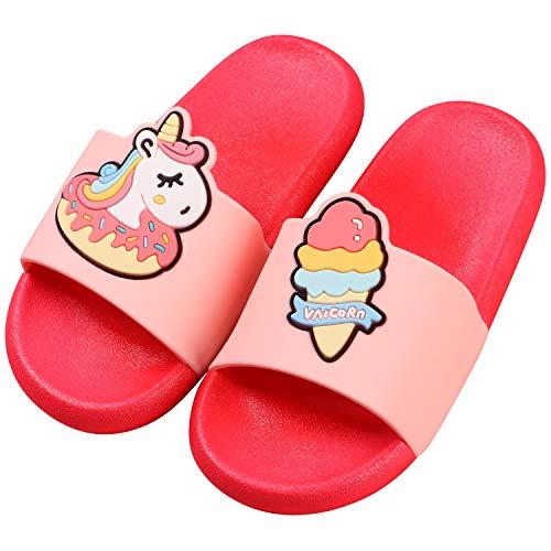 Tacobear Hausschuhe Kinder Sommer Sandalen Slippers rutschfeste Einhorn Dinosaurier Badeschuhe Fläche und Leicht Strand Pantoletten für Mädchen und Jungen