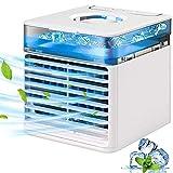 azorex Mini Enfriador Portátil USB Aire Acondicionados de Mesa Climatizador con 4 en 1 Ventilador Purificador Humidificador Aromaterapia con 3 Velocidades para Oficina Casa Camping (Blanco)