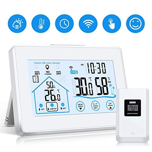 vonivi Wetterstation Funk mit Außensensor, Digital Thermometer Hygrometer Innen und Außen Raumthermometer Hydrometer Feuchtigkeit mit Wettervorhersage, Uhrzeitanzeige, Wecker und Nachtlicht-Weiß