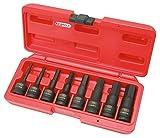 KS Tools 911.0902 Jeu De Douilles Mâles À Chocs 6 Pans 1/2'', L.75 Mm, Outillage Mécanique Auto Avec Mallette De Rangement - 8 Pcs