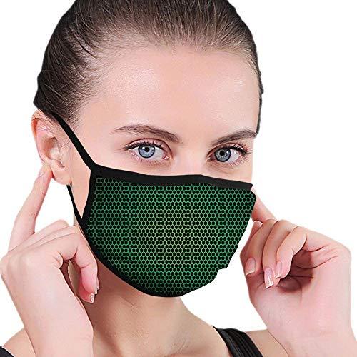 Gesichtsmasken, Waldgrün, geometrisches Wabenmuster mit Polygon-Technologie-themenorientierter Gitter-Netzfliese, grün-schwarzer Unisex