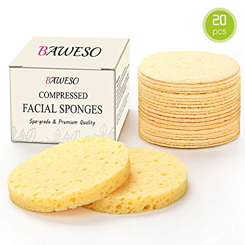 "Facial Sponges - BAWESO All Natural Compressed Cellulose Face Scrub Buff Puff, Reusable Organic Odorless Deep Cleansing and Soft Exfoliating Spa Massage Pads, Bigger / Thicker 20 Counts (3""15 / 0.4"")"