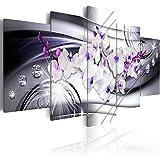 B&D XXL murando Impression sur Toile intissee 200x100 cm cm 5 Parties Tableau Tableaux Decoration Murale Photo Image Artistique Photographie Graphique Fleur Orchid Diamant b-A-0238-b-p