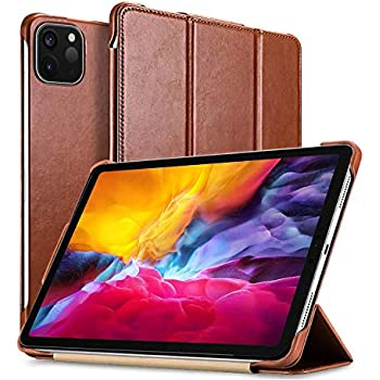 New iPad Pro 11 inch 2020 Case,Mangix Vintage Series Genuine Leather Folio Flip Smart Cover Leather Case with Auto Wake/Sleep Function [Magnetic Latch] Kickstand for iPad Pro 11 2020 2nd (Brown)