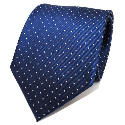 TigerTie Designer Seidenkrawatte blau saphirblau silber gepunktet - Krawatte Tie