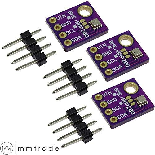 mmtrade | 3x GY-BME280 Temperatur Luftdruck Luftfeuchtigkeit digitaler Sensor Modul Board I2C 5V für Arduino Raspberry Pi Mikrocontroller