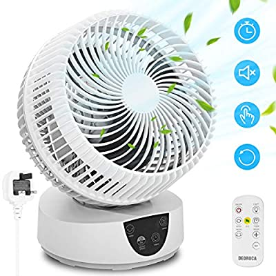 Desk Cooling Fan for Air Circulation with Remote Control, 3 Speeds, 4 Modes, 9H Timer, Oscillating Quiet Electric Table Fans Turbofan Air Circulator for Home Bedroom Office Room House (White)