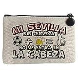 Monedero Mi Sevilla sin Cerveza no me entra en la cabeza frase para futboleros - Beige, 15 x 10 cm