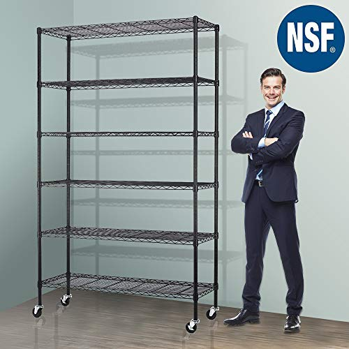 Storage Metal Shelf Wire Shelving Unit with Wheels 82x48x18 Sturdy Steel Heavy Duty 6 Tier Layer Rack with Casters for Restaurant Garage Pantry Kitchen Garage Rack Black
