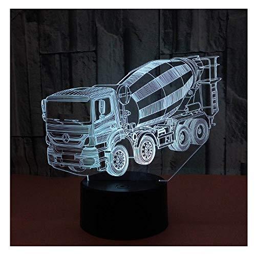 Comiwe Camion Malaxeur 3D Illusion Veilleuse Jouets,Décor de Maison LED Lampe de Chevet Table,Télécommander 16 Couleurs,Cadeau d'Anniversaire de Noël Pour Filles Garçons Enfants Amis et Famille