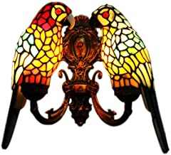li@ Retro Stained Glass Wall Lamp, Tiffany Style Parrot Wall Sconce, Home Bedside Lamp/Aisle Lamp, 2 Lights, Handmade,E27