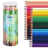 set di matite colorate, 48 matite di colori vivaci per adulti, bambini che disegnano, schizzi di artisti (48 pz)