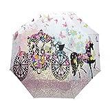 Paraguas plegable automático carro caballo insecto viaje compacto paraguas paraguas sombrilla impermeable impermeable con revestimiento negro anti-UV
