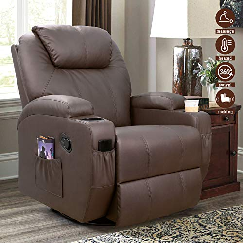 Furniwell Recliner Chair Massage Leather Living Room Chair Home Theater Seating Heated Overstuffed Single Sofa 360° Swivel and Rocking (Brown)