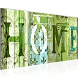 Bilder Home Haus Wandbild 100 x 40 cm Vlies - Leinwand Bild XXL Format Wandbilder Wohnzimmer Wohnung Deko Kunstdrucke Grün 1 Teilig - Made IN Germany - Fertig zum Aufhängen 502812c