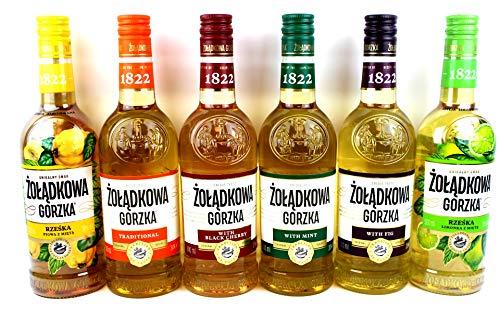 Sechser Paket Zoladkowa Gorzka Vodka (6x0,5) 1 Trditionel, 1 Black Shery, 1 Mint, 1 Limette Minze, 1 Quitten Minze1 Feige