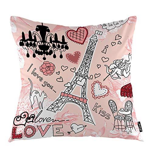 Funda de cojín con diseño de torre Eiffel con corazones románticos en París, funda de cojín decorativa para decoración del hogar, sofá, dormitorio, coche, 45,7 x 45,7 cm