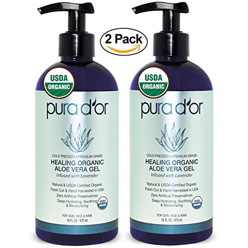 PURA D'OR Organic Aloe Vera Gel Lavender Scent (2 Pack of 16oz) USDA Certified - Deeply Hydrating, Moisturizing Skin & Hair - Sunburn, Bug Bites, Rashes, Small Cuts, Eczema Relief (Packaging may vary)