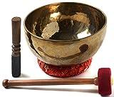 BUDDHAFIGUREN Tibetano canto cuenco - nuevo estilo - hecho a mano, 1900 - 2000 gramos - con accesorios