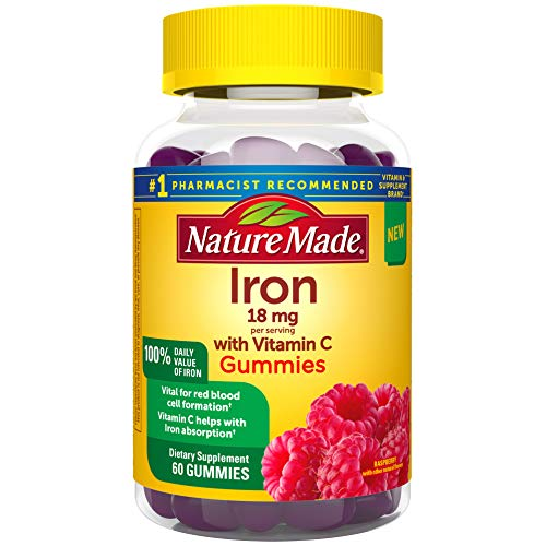 Nature Made Iron Gummies 18 Mg with Vitamin C, for Red Blood Cell Support, Raspberry, 60 Count