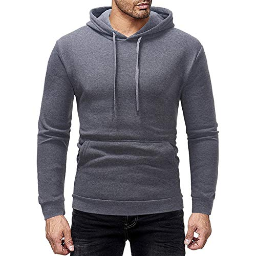 JIAYU Sudadera deportiva para hombre de color sólido, con capucha, color vino, rojo, gris oscuro, verde militar, negro (color: gris oscuro, tamaño: M)