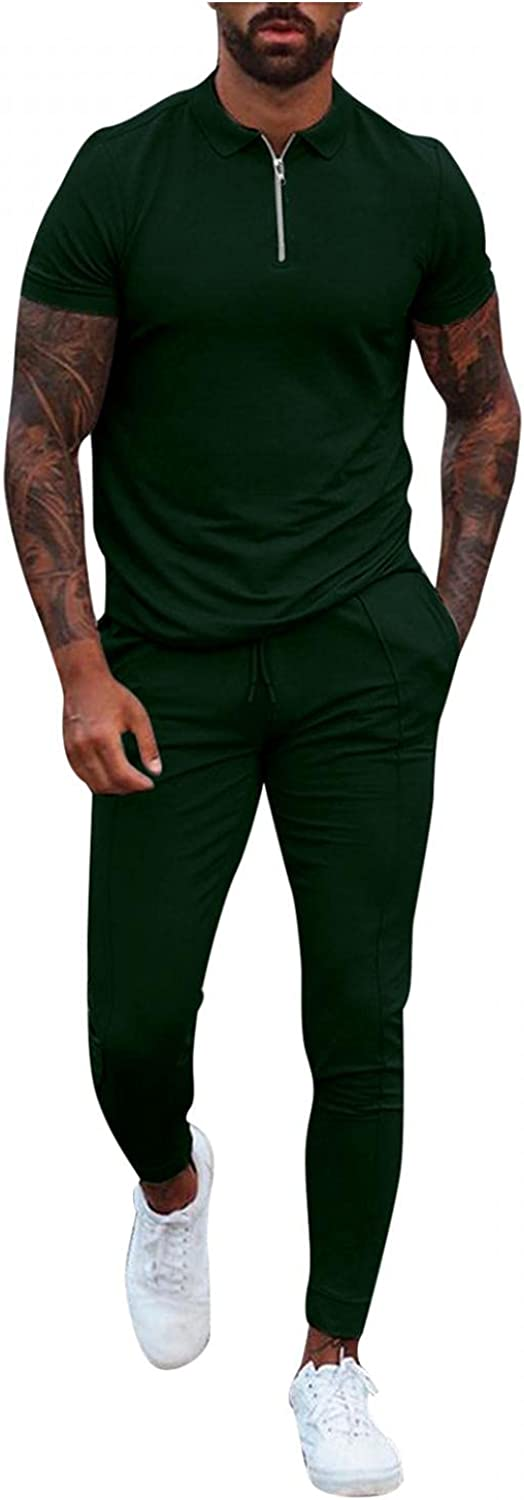 Mens 2 Piece Tracksuits Solid Casual Short Sleeve Polo Zipper Shirts+ Long Pants Outfits Slim Fit Sport Jogging Set