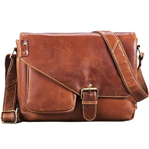 STILORD \'Tim\' Messenger Bag Leder für 13,3 Zoll MacBooktasche DIN A4 Herren Damen Vintage Umhängetasche Messengertasche Unitasche Büchertasche Echtleder, Farbe:vegetabil - gegerbt Cognac
