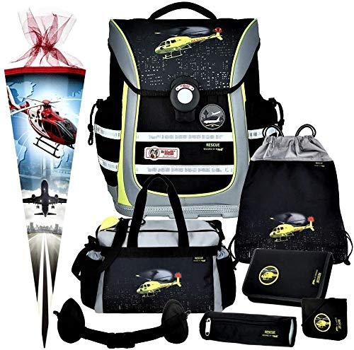 Rescue - Hubschrauber Helikopter - McNeill Ergo Light Pure mit Blinklicht Schulranzen-Set 8tlg. mit Sporttasche, BRUSTBEUTEL und SCHULTÜTE - HÜFTGURT GRATIS DAZU