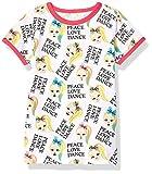 JoJo Siwa Girls' Big Peace Love Dance All Over Print Ringer Tee, White/Hot Pink, S-7