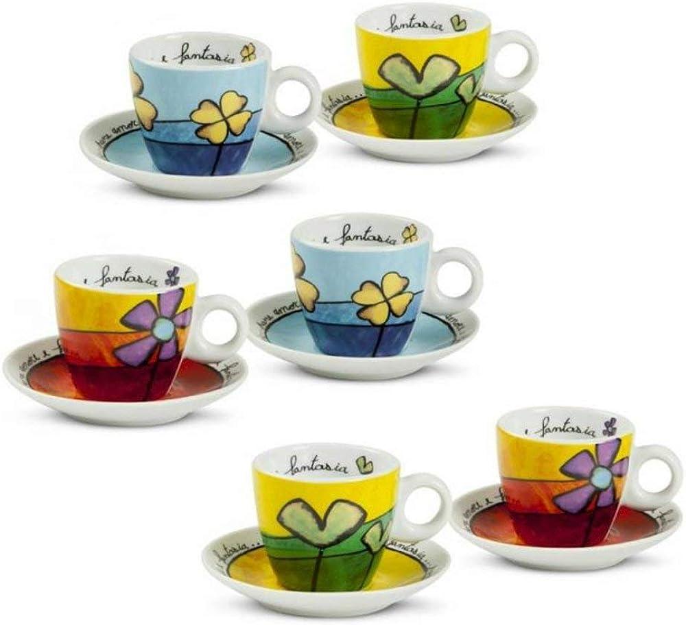Egan,6 tazzine da caffe` con piattino, in porcellana PAF06/1Z