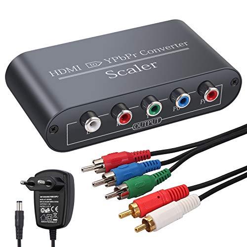 Neoteck 1080p HDMI a Componente Convertitore Video con Scaler Adattatore Alluminio da HDMI a YpbPr RGB 5RCA con Funzione Scaler Incluso Alimentatore EU Cavo Componente 3RCA e Cavo Audio 2RCA