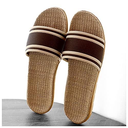 Zapatillas Hombre Casa Japonesas Straen Straw Woven Lino Zapatillas para Mujer Hombre Inicio Indoor Soft Bott Foot Bood Dormitorio Hogar Summer Pantuflas Sandalias (Color : Brown, Size : 42/43 EU)