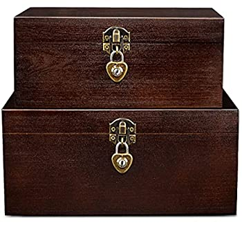 Set of 2 Wood Storage Box with Lock and Keys Decorative Wooden Stash Box Case with Hinged Lid Treasure Chest Jewelry Trinket Organizer Keepsake Container Boxes for Women Men Letter Photo Rustic Brown