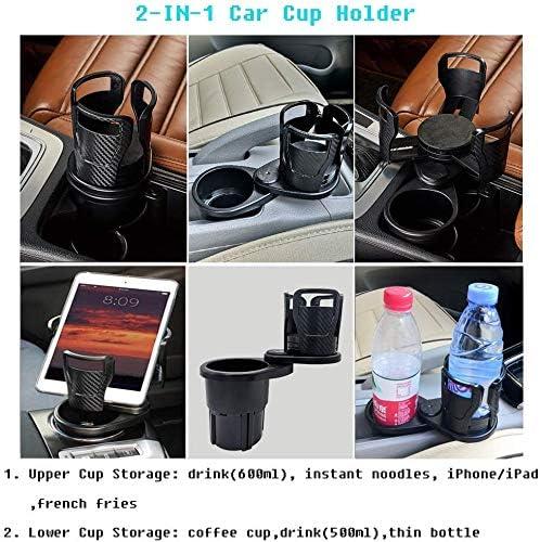 etc. Adjustable Size Beverage HoldCarer 2 in 1 Multifunctional Car Cup Holder beverage bottles Mount Extender with 360/° Rotating Adjustable Base to ,Can hold up to 17oz-20oz bottled coffee