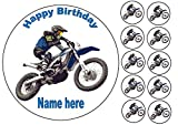 Decoración personalizada para tartas de motocross de 7.5 pulgadas con adornos comestibles para cupcakes de 1.5 pulgadas