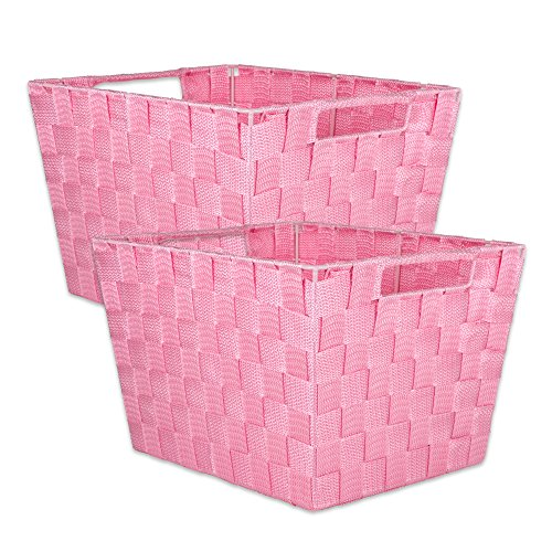 "DII Durable Trapezoid Woven Nylon Storage Bin or Basket for Organizing Your Home, Office, or Closets (Large Basket - 13x15x10"") Pink - Set of 2"