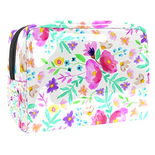 Maquillage Cosmetic Case Multifunction Travel Toiletry Storage Bag Organizer for Women - Aquarelle Butterfly Lily Flower
