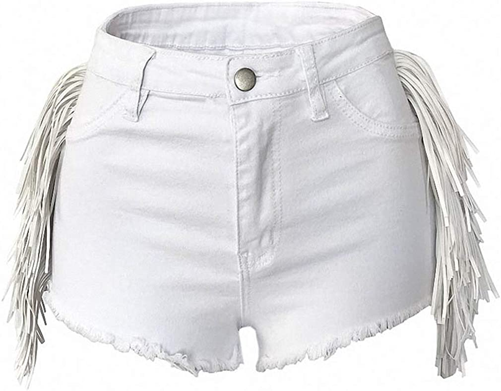 Shorts Women High Waist Skinny Side Tassel Black Denim Shorts Plus Size Solid Sexy & Club Shorts