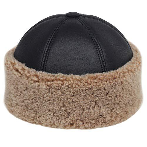 Derisitesi Wintermütze aus 100% Schaffell, Lammfell, Fellimitat, braun / schwarz