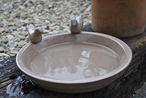 Vogeltränke mit Zwei Kleinen Vögelchen,rund,grau-braun glasiert,30cm,%mit Kleinen Fehlern%