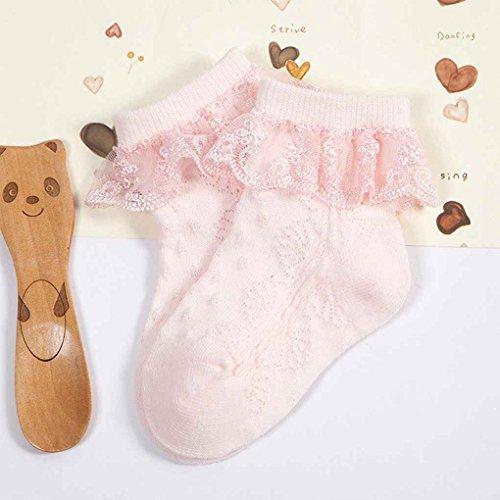 on brand DANDANdianzi Netter Baby-Säuglingsspitze Socken Babysocken Mädchen Tiny Newborn Spanisch gestrickte Baumwollmischung Söckchen