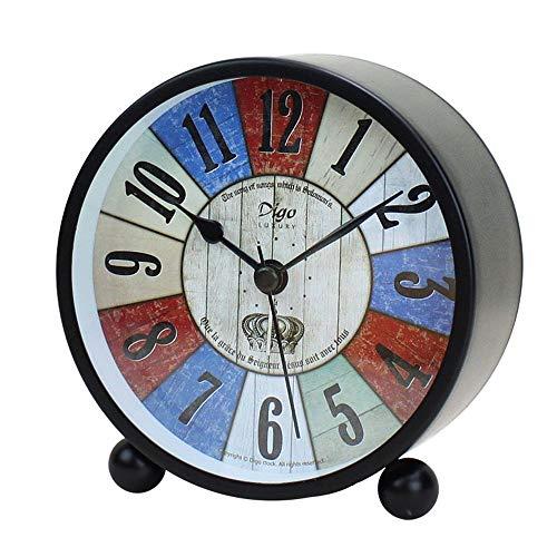 HLVU Réveils Réveils Ronde Vintage Ultra-Silencieux Bureau Horloge de Table en métal Armoire de Chevet Voyage réveil avec lumière de Nuit for Bureau Rétro réveil Accessoires