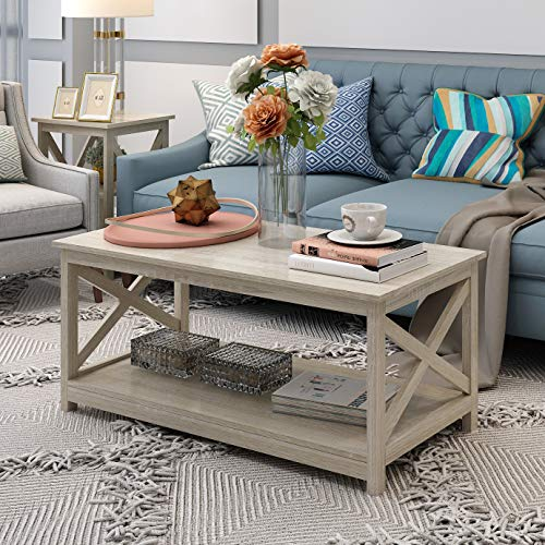 Farmhouse Modern Wood Coffee Table with 2-Tier Shelf Storage, Accent Furniture for Living Room (White Oak)