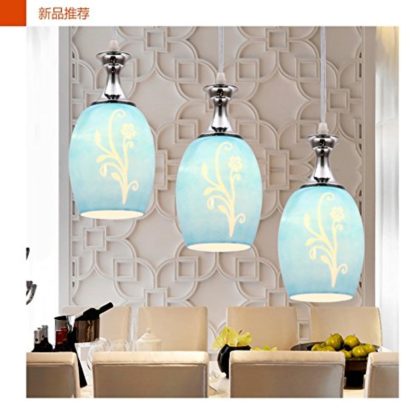 BESPD Kreative moderne, minimalistische drei Kopf LED einziges Haupt Dining Restaurant Kronleuchter aus Murano-Glas, einem Kopf mit keine Lichtquelle