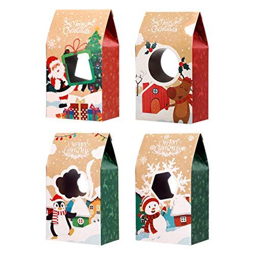 Hemoton Keksboxen für Weihnachten,16 Stück Weihnachts Plätzchen Boxen Kraft Papiergeschenk Kästen Geschenkkartons Kraft Verpackungsbehälter mit Deckel, 20 x11x7 cm