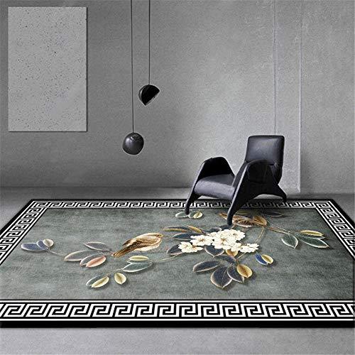 RUGMYW Ecologico tappeti Neonati Gattonamento Classico Motivo a Fiori e Uccelli Grigio Nero Bianco Verde Giallo tappeti per Scale 100X200cm